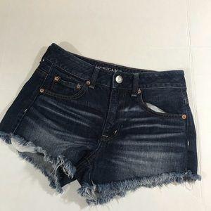AEO hi-rise festival dark wash shorts